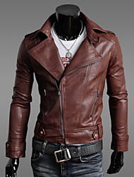 OUER Men's Casual Korea Style Slim Pu Leather Coat