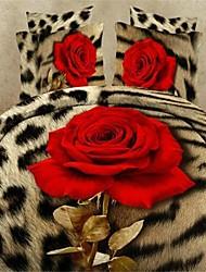 conjunto funda de edredón, ropa de cama de la pintura al óleo 3d fijó 4pcs edredón edredón cubre la ropa de cama hoja de cama con estampado de flores