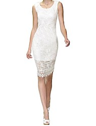 Women's Lace Lace Sheath Dress , Round Neck Knee-length Polyester / Lace