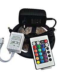 jiawen® 5m 300x3528 smd rgb tira conduzida luz e 24key controle remoto e 2-A fonte de alimentação da UE (AC110-240V)