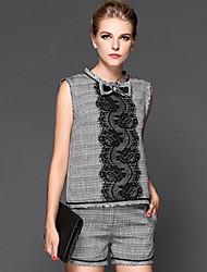 millésime manches bowknot broderie costume de récolte de femmes (tops&pantalon)