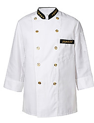 Long-breasted White Chef Uniform with Black Stand Collar