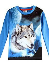 Boy's T shirt 3D Wolf Printed Kids Animal T shirts Children Tees(Random Printed)