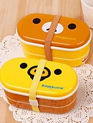 Lovely Relaxing Bear Double Preservation Lunch Box,Plastic 16.5×8.5×8.5 CM(6.5×3.3×3.3 INCH) Random Type
