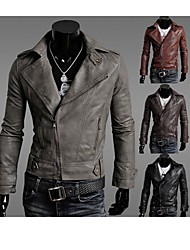 PROMOTION Men's Slim Fit Inclined Zipper Suit Collar Locomotive Garment Leather Jacket