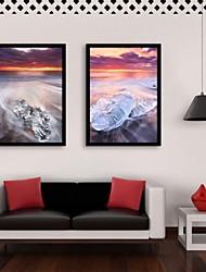 Paisagem Quadros Emoldurados / Conjunto Emoldurado Wall Art,PVC Preto Sem Cartolina de Passepartout com frame Wall Art
