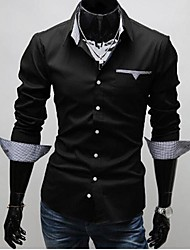 MAIDU Men's Inside of the Fine Style of Slim Fit Patch Men Long Sleeve Shirt