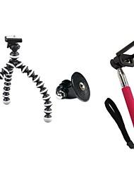 ensemble retardateur (petit trépied, adaptateur GoPro, rose auto-pôle, clip téléphone mobile)