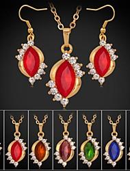 U7® 18K Gold Plated Rhinestone CZ Diamond Pendant Necklace Dangle Earrings Luxurious Fashion Jewelry Set