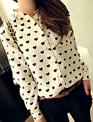 Women's Love Pattern Long Sleeve Chiffon Blouse