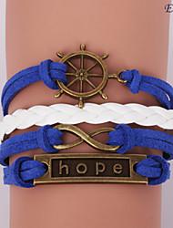 pulseras eruner®leather esperanza aleación de múltiples capas y una infinidad de encantos pulsera hecha a mano