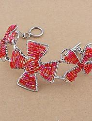 Fashion Woven Copper Glass Tube Flower Bracelets Random Color