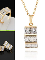Women's Fashion Dolphin Design 18K Gold Plating Ring/ Necklace / Earrings Jewelry Set