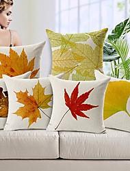 Набор из 6 осенними листьями хлопок / льняных декоративные наволочки