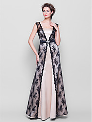 LAN TING BRIDE Floor-length Straps Bridesmaid Dress Sleeveless Lace Satin