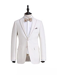 White  Soild  Tailored  Fit   Suit   Jacket     In   100%    Wool