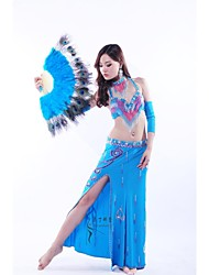 Belly Dance Outfits Women's Performance Chiffon / Velvet Beading / Paillettes / Sequins As Picture Belly Dance / PerformanceZipper /