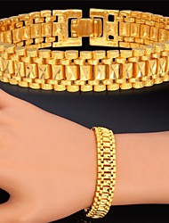Fancy Hot Sale Link Chain Bracelet 18K Real Gold Platinum Plated Chunky Bracelet Bangle for Women Men High Quality