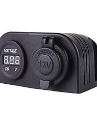 12/24V Marine Boat Caravan Car Cigarette Power Socket + LED Digital Display Voltmeter