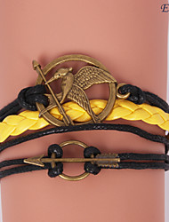 pulseras eruner®leather aleación de múltiples capas encantos mockingjay pulsera hecha a mano