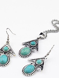 Toonykelly Vintage Antique Silver Fish Turquoise Stone Bead(Earring and Necklace) Jewelry Set