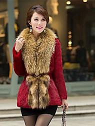 Mode großen Kragen Tuch Rabbit Fur Coat Frauen