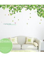 stickers muraux autocollants de mur, arbres verts de style et de forêts pvc stickers muraux
