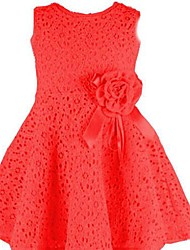 Girl's White/Pink/Red Cotton Lace Dress, Summer Sleeveless