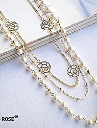 Necklace Strands Necklaces Jewelry Party / Daily / Casual Fashion Pearl / Alloy Silver 1pc Gift