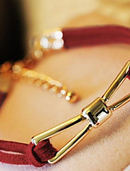 cordão de couro fina linha vermelha pulseira arco