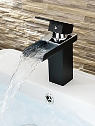 Contemporary Black  Painting One Hole Single Handle Waterfall  Bathroom Sink Faucet