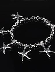 Women's Fashion Five Starfish Design Silver Plated Bracelet