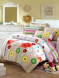 Duvet Cover Set,Twill 100% Cotton Bedding Sets,Queen Size 4pcs of Duvet Cover Bed Sheet Pillowcase Bedclothes