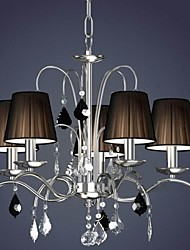 Cloth Lamp Shade Crystal Chandelier  5 Lights