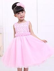 manera de la muchacha dulce rosa malla vestido de princesa
