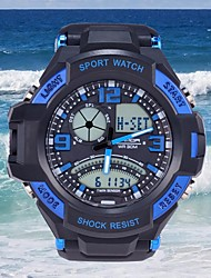 Men's Quartz Analog Digital Rubber Date LED Display Stopwatch Sport Wris Watches (Assorted Colors)