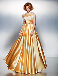 TS Couture Prom Dress - Open Back A-line Scoop Floor-length Stretch Satin with Appliques Ruching