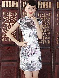 Women's Formal Vintage Sheath Dress,Print Stand Above Knee Short Sleeve Gray Silk Summer