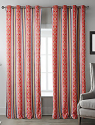 (Two Panels) Repetitive Chinese Red Geometric Patterns Curtain