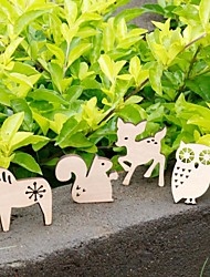 Cute Animal Shape Wooden Fridge Magnets Stickers Educational Toy (4-Pack)