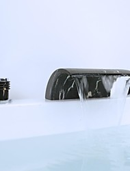 Artistic Three Holes Two Handles Waterfall Widespread Bathroom Sink Faucet