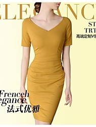 Women's Yellow Dress , Bodycon Short Sleeve