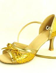Customizable Women's Dance Shoes Latin/Salsa Fabric Customized Heel Silver/Gold