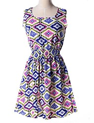 Women's Casual/Daily A Line Dress,Print Round Neck Above Knee Sleeveless Multi-color Polyester Summer / Fall