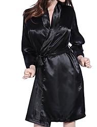 Damen Roben Nachtwäsche einfarbig Chiffon Spitze Schwarz