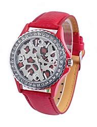 reloj de diamantes de leopardo cinturón de cuero cinturón circular movimiento chino de las mujeres (colores surtidos)