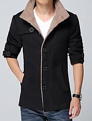 Men's Long Sleeve Regular Coat , Cotton Blend/Polyester Pure