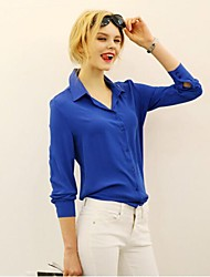 Women's Solid Blue/Red/White/Yellow Shirt , Shirt Collar Long Sleeve