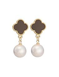 Woman's Fashion Coffee Plum Gold Pearl Earrings