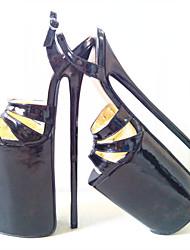 Черный Красный-Женский-Для вечеринки / ужина-Полиуретан-На шпильке На платформе-На платформе-Обувь на каблуках